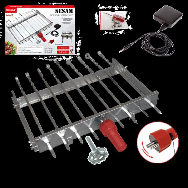 Spießdreher für 9 Spiesse mit Motor + Akku USB + 9 Spieße