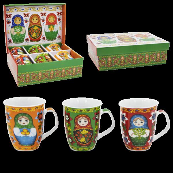 Tassen-Set, Matröschka, 6 Tassen im Set, 0,35 L, Geschenkverpackung