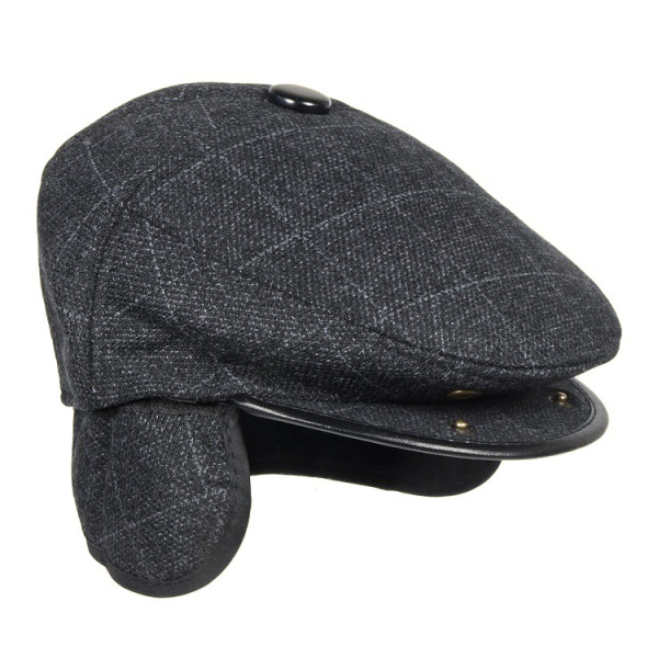 Schirmmütze mit klappbaren Ohrenschutz wintermütze für Herren Schwarz Stepmütze