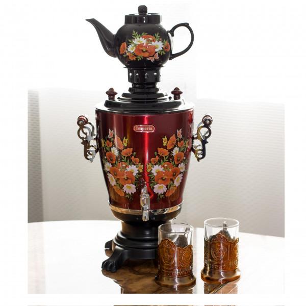 Elektrische Samowar IMPERIA schwarz mit Teekanne + 2 Teeglashalter CCCP Bronze
