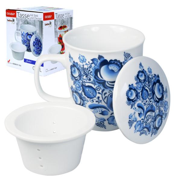 Tasse mit Deckel und Sieb Gzehl 400 ml.