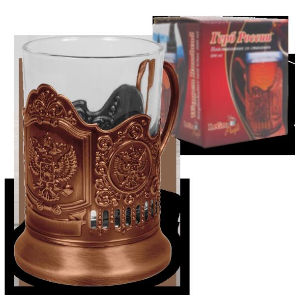 Teeglashalter, Wappen Russland, bronze