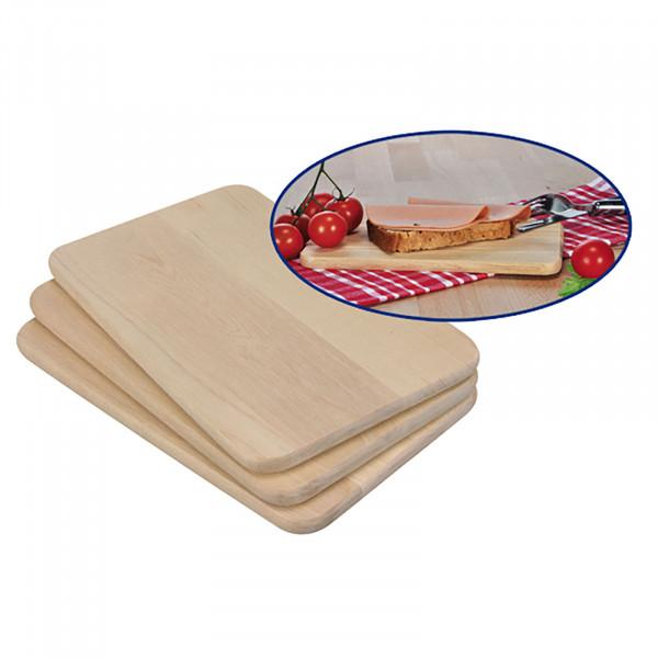 3er Set Holzbretter Frühstücksbrettchen Brettchen Holzbrettchen Küchenbrettchen