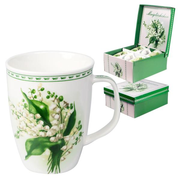 Kaffeebecher Geschenk-Set Maiglöckchen 4-er 350ml
