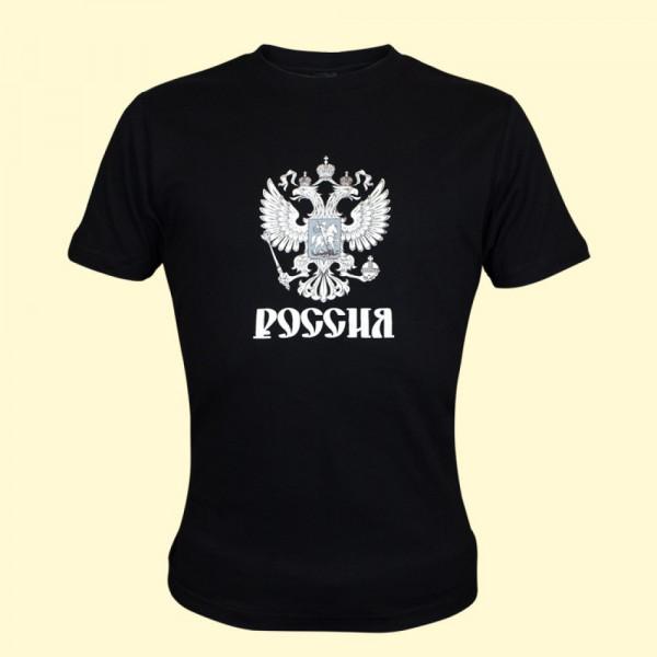 T-Shirt Russland schwarz kurzarm