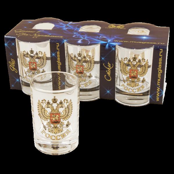 Gläser-6er-Set, Wappen Russland, 50 ml