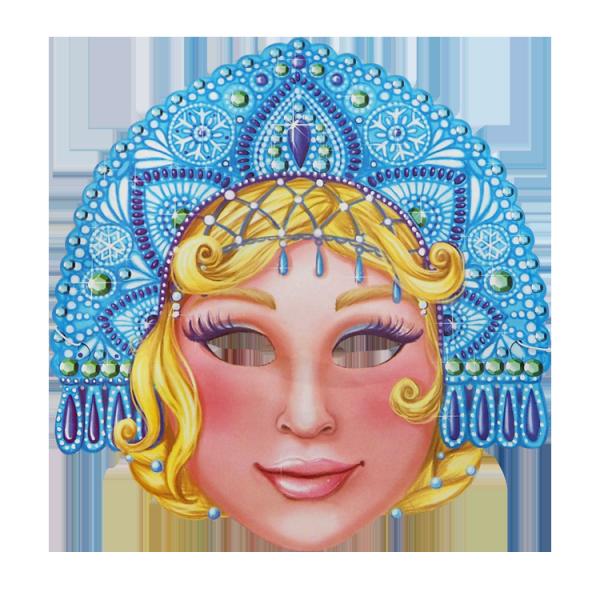 Maske, Schneemädchen, 28,5 x 24,5 cm, mit Gummiband