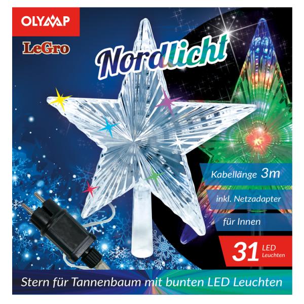 """LED Stern für Tannenbaum """"Nordlicht"""" mit 31 multicolor LED's"""