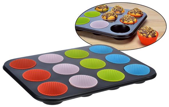 Muffin - Backform mit Silikonförmchen für 12 Muffins