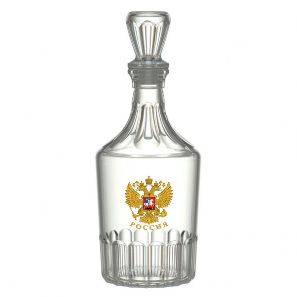 """Karaffe 500 ml, """"Wappen von Russland"""" Glaskaraffe Flasche Dekanter"""