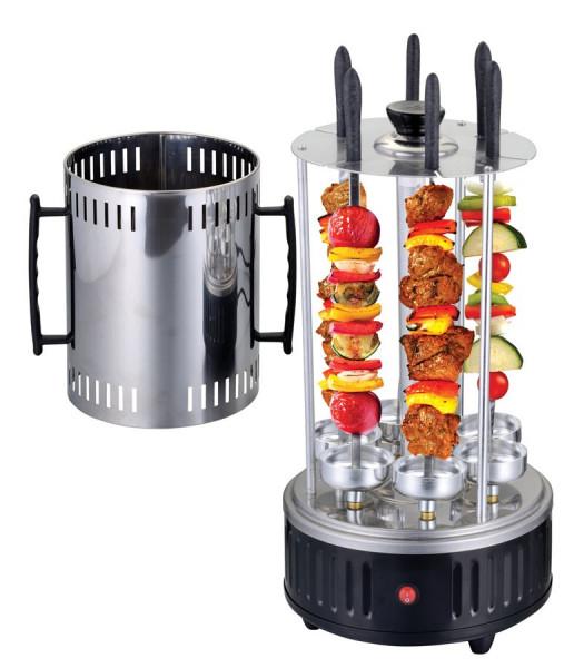 Elektrischer Grill, 1000 W, 6 Grillspieße