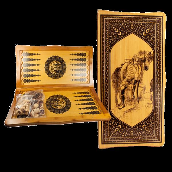 Backgammonspiel aus Holz, Brett 50 x 50 cm