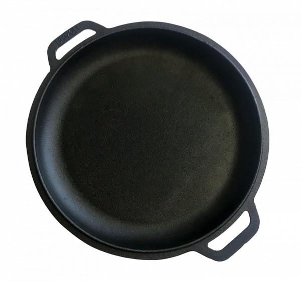 Gussbratpfanne, Durchmesser 40 cm, zwei Halterungen, kann als Deckel dienen