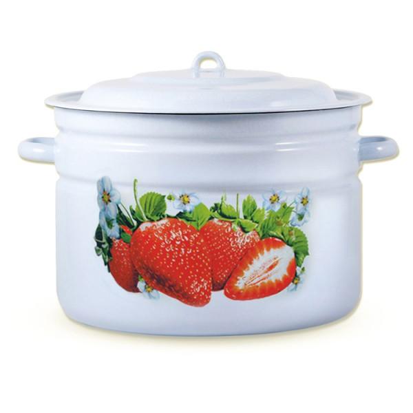 Topf mit Deckel, Erdbeeren 25 Liter emailliert