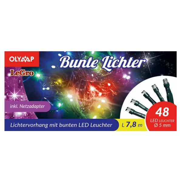 LED Lichterkette mit 48 multicolor LED's, 7,8 m
