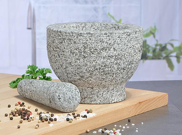 Granitmörsel mit Stößel