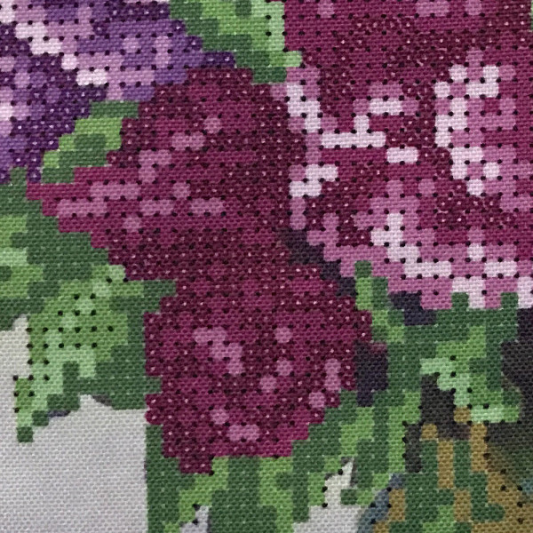 Perlenstickerei Perlebild Mosaik Stickerei Komplett Set Flieder 25x19cm