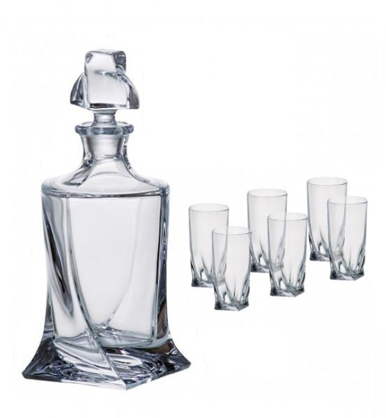 Likör-Set Quadro Karaffe und 6 Gläser